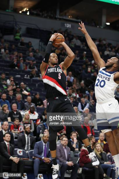 Rodney Hood of the Portland Trail Blazers shoots the ball against the Minnesota Timberwolves on April 1 2019 at Target Center in Minneapolis...