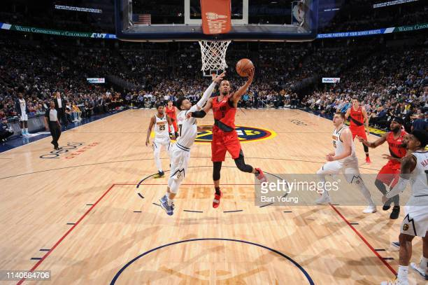 Rodney Hood of the Portland Trail Blazers shoots the layup against the Denver Nuggets during Game Two of the Western Conference Semifinals of the...