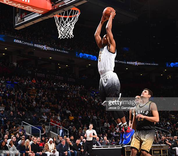 Rodney Hood of the US Team dunks the ball during the BBVA Compass Rising Stars Challenge as part of the 2016 NBA All Star Weekend on February 12 2016...