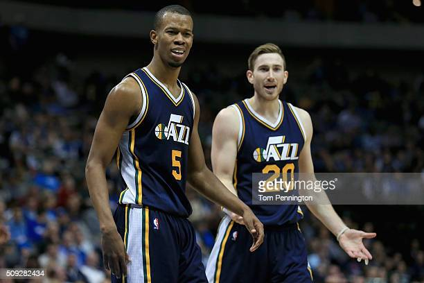 Rodney Hood of the Utah Jazz and Gordon Hayward of the Utah Jazz react to a call in overtime against the Dallas Mavericks at American Airlines Center...