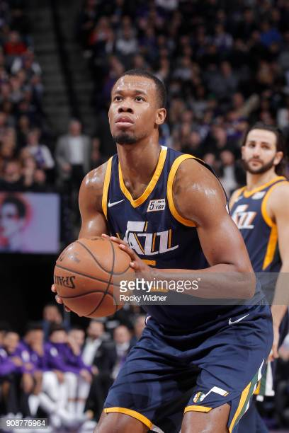 Rodney Hood of the Utah Jazz attempts a freethrow shot against the Sacramento Kings on January 17 2018 at Golden 1 Center in Sacramento California...