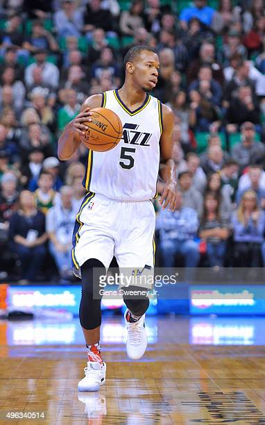 Rodney Hood of the Utah Jazz brings the ball up court against the Portland Trail Blazers at Vivint Smart Home Arena on November 4 2015 in Salt Lake...