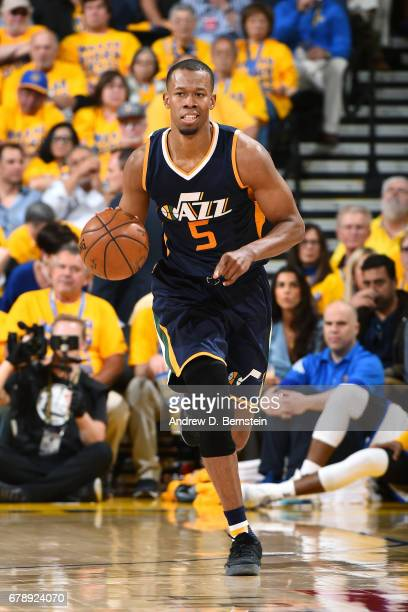 Rodney Hood of the Utah Jazz brings the ball up court during the game against the Golden State Warriors during Game Two of the Western Conference...