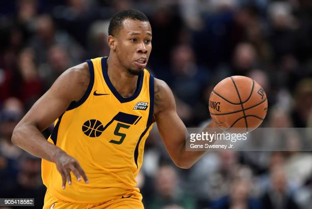 Rodney Hood of the Utah Jazz brings the ball up court in the second half of a game against the Indiana Pacers at Vivint Smart Home Arena on January...