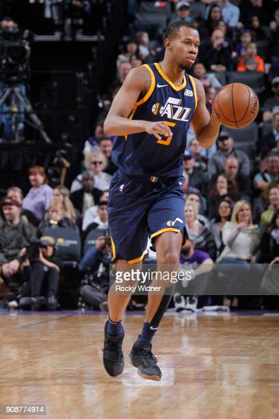 Rodney Hood of the Utah Jazz brings the ball up the court against the Sacramento Kings on January 17 2018 at Golden 1 Center in Sacramento California...