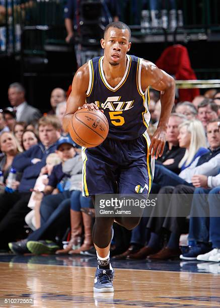 Rodney Hood of the Utah Jazz dribbles the ball against the Dallas Mavericks on February 9 2016 at the American Airlines Center in Dallas Texas NOTE...