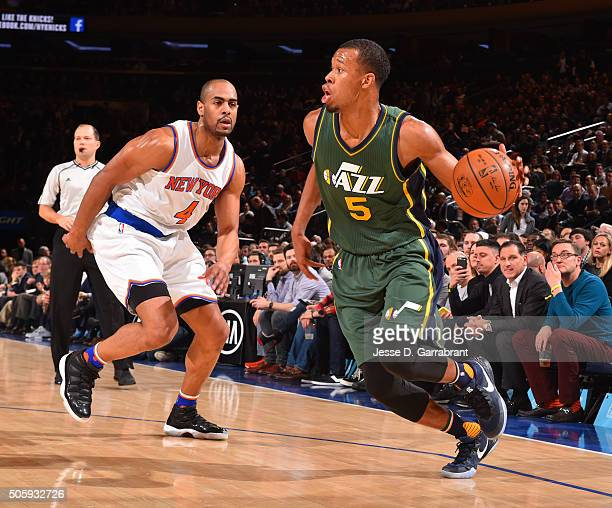 Rodney Hood of the Utah Jazz dribbles the ball against the New York Knicks at Madison Square Garden on January 20 2016 in New YorkNew York NOTE TO...