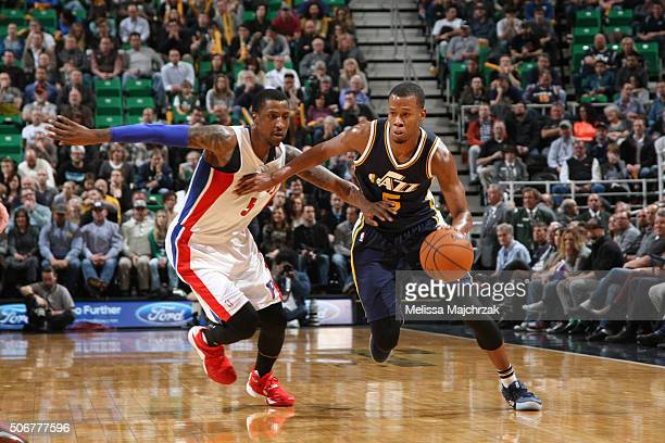 Rodney Hood of the Utah Jazz drives to the basket against Kentavious CaldwellPope of the Detroit Pistons during the game on JANUARY 25 2016 at Vivint...