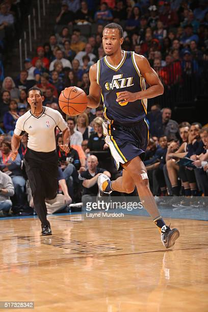 Rodney Hood of the Utah Jazz drives to the basket against the Oklahoma City Thunder during the game on March 24 2016 at Chesapeake Energy Arena in...