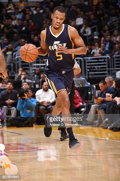 Rodney Hood of the Utah Jazz drives to the basket against the Los Angeles Lakers during the game on December 5 2016 at STAPLES Center in Los Angeles...