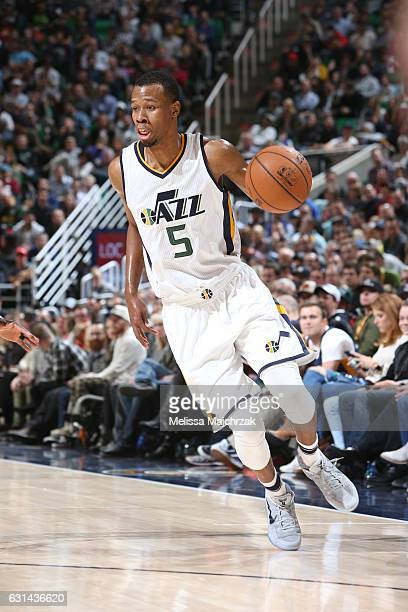 Rodney Hood of the Utah Jazz drives to the basket against the Cleveland Cavaliers during the game on January 10 2017 at vivintSmartHome Arena in Salt...