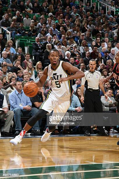 Rodney Hood of the Utah Jazz drives to the basket against the Portland Trail Blazers during the game on November 4 2015 at Vivint Smart Home Arena in...