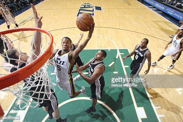 Rodney Hood of the Utah Jazz goes for the dunk against the San Antonio Spurs during the game on December 9 2014 at EnergySolutions Arena in Salt Lake...