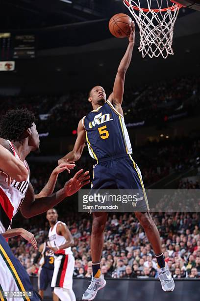 Rodney Hood of the Utah Jazz goes to the basket against the Portland Trail Blazers on February 21 2016 at the Moda Center in Portland Oregon NOTE TO...