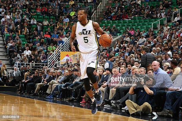 Rodney Hood of the Utah Jazz handles the ball against the Houston Rockets on January 4 2016 at vivintSmartHome Arena in Salt Lake City Utah NOTE TO...