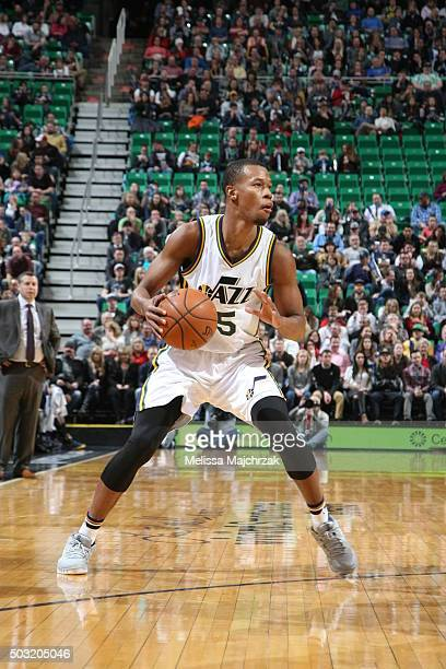 Rodney Hood of the Utah Jazz handles the ball against the Memphis Grizzlies on January 2 2016 at vivintSmartHome Arena in Salt Lake City Utah NOTE TO...
