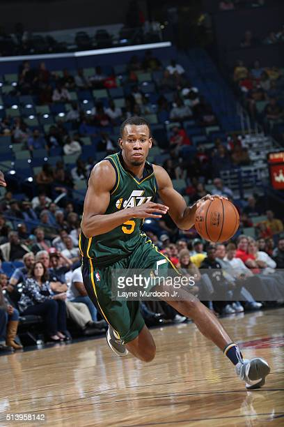 Rodney Hood of the Utah Jazz handles the ball against the New Orleans Pelicans on March 5 2016 at Smoothie King Center in New Orleans Louisiana NOTE...