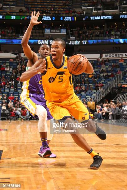 Rodney Hood of the Utah Jazz handles the ball against the New Orleans Pelicans on February 5 2018 at Smoothie King Center in New Orleans Louisiana...