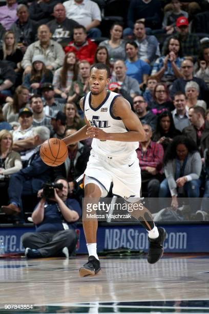 Rodney Hood of the Utah Jazz handles the ball against the New York Knicks on January 19 2018 at vivintSmartHome Arena in Salt Lake City Utah NOTE TO...