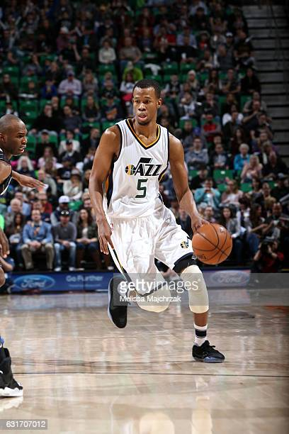 Rodney Hood of the Utah Jazz handles the ball against the Orlando Magic on January 14 2017 at vivintSmartHome Arena in Salt Lake City Utah NOTE TO...