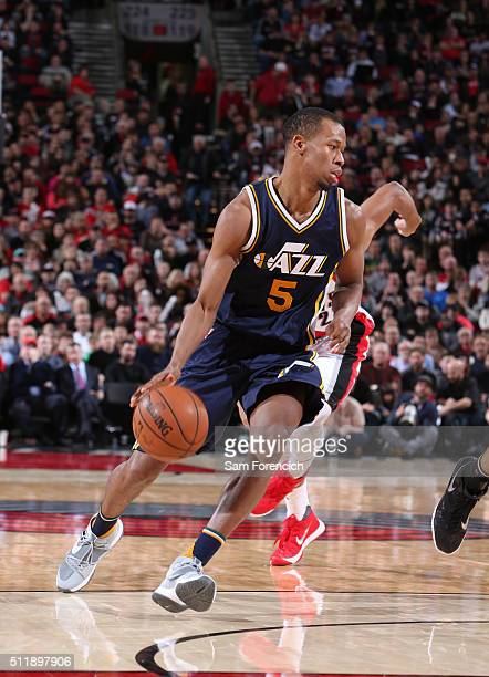 Rodney Hood of the Utah Jazz handles the ball against the Portland Trail Blazers on February 21 2016 at the Moda Center Arena in Portland Oregon NOTE...