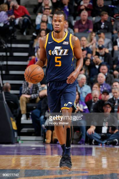 Rodney Hood of the Utah Jazz handles the ball against the Sacramento Kings on January 17 2018 at Golden 1 Center in Sacramento California NOTE TO...