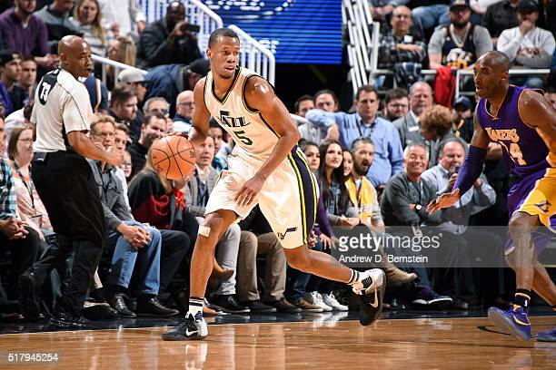 Rodney Hood of the Utah Jazz handles the ball during the game against the Los Angeles Lakers on March 28 2016 at EnergySolutions Arena in Salt Lake...