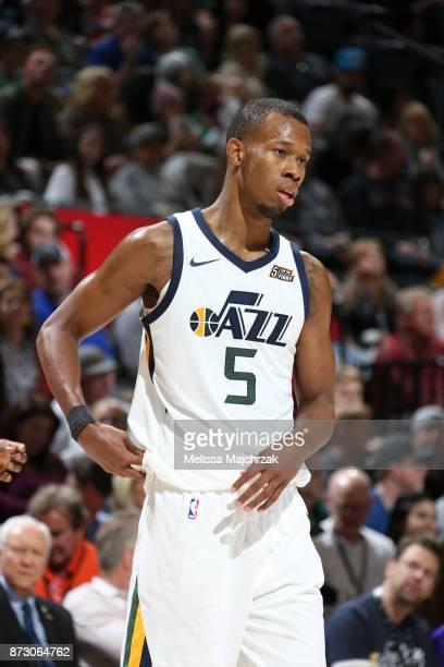 Rodney Hood of the Utah Jazz looks on against the Brooklyn Nets on November 11 2017 at Vivint Smart Home Arena in Salt Lake City Utah NOTE TO USER...