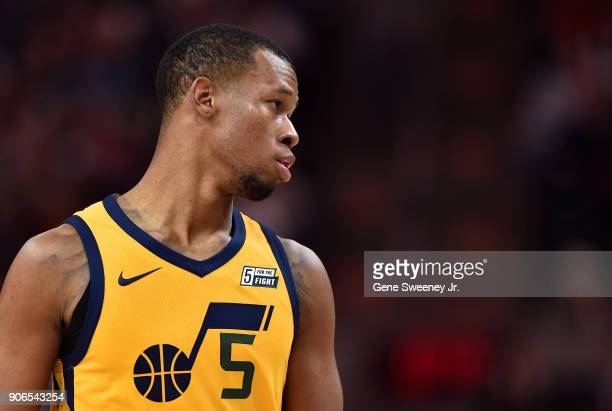 Rodney Hood of the Utah Jazz looks on during a game against the Indiana Pacers at Vivint Smart Home Arena on January 15 2018 in Salt Lake City Utah...