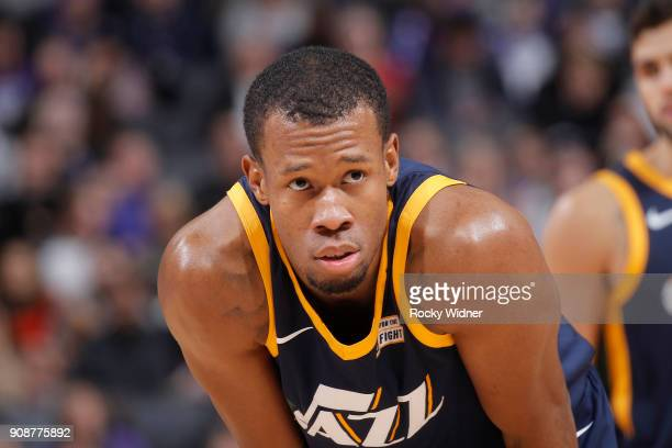 Rodney Hood of the Utah Jazz looks on during the game against the Sacramento Kings on January 17 2018 at Golden 1 Center in Sacramento California...