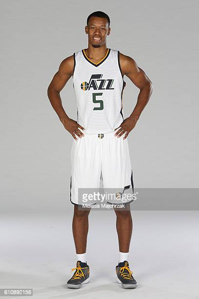Rodney Hood of the Utah Jazz poses for a photo during the 20162017 Utah Jazz media day at Zions Bank Basketball Center on September 26 2016 in Salt...