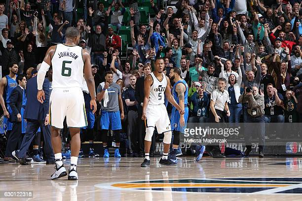 Rodney Hood of the Utah Jazz reacts after making game winning basket during the game against the Dallas Mavericks on December 16 2016 at...