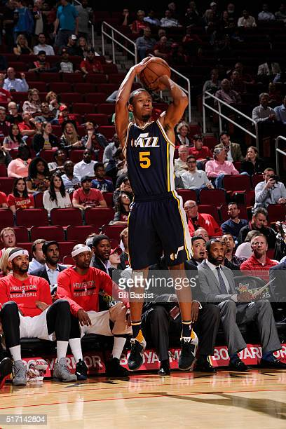 Rodney Hood of the Utah Jazz shoots against the Houston Rockets on March 23 2016 at the Toyota Center in Houston Texas NOTE TO USER User expressly...