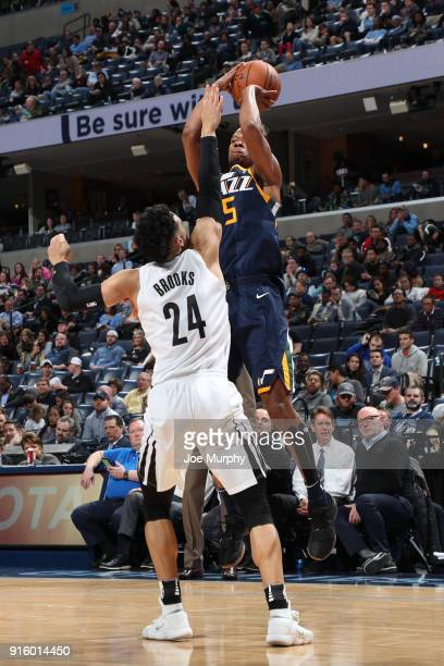 Rodney Hood of the Utah Jazz shoots the ball against Dillon Brooks of the Memphis Grizzlies during the game between the two teams on February 7 2018...
