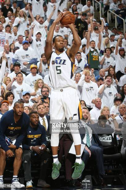 Rodney Hood of the Utah Jazz shoots the ball against the LA Clippers in Game Six of the Western Conference Quarterfinals of the 2017 NBA Playoffs on...