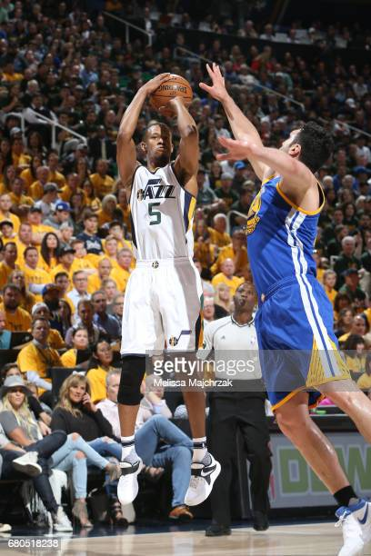 Rodney Hood of the Utah Jazz shoots the ball against the Golden State Warriors in Game Four of the Western Conference Semifinals of the 2017 NBA...