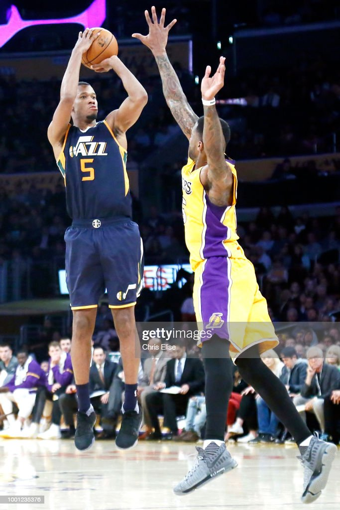 Rodney Hood  5 of the Utah Jazz shoots the ball against the Los Angeles  Lakers 0646112bf