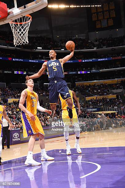 Rodney Hood of the Utah Jazz shoots the ball against the Los Angeles Lakers during the game on December 5 2016 at STAPLES Center in Los Angeles...