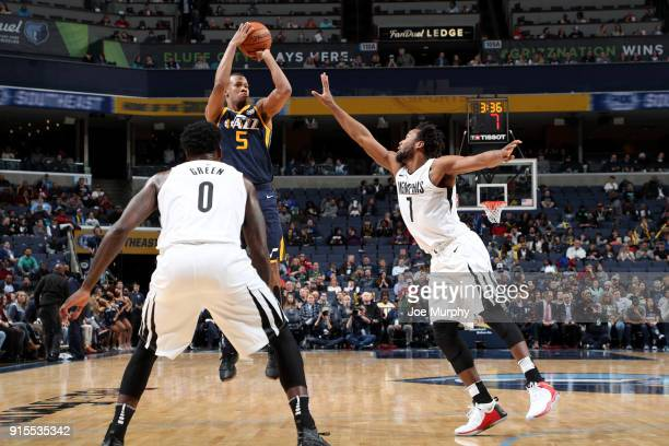 Rodney Hood of the Utah Jazz shoots the ball against the Memphis Grizzlies on February 7 2018 at FedExForum in Memphis Tennessee NOTE TO USER User...