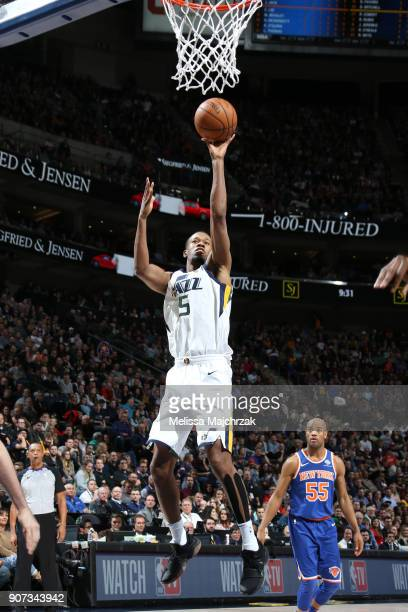 Rodney Hood of the Utah Jazz shoots the ball against the New York Knicks on January 19 2018 at vivintSmartHome Arena in Salt Lake City Utah NOTE TO...