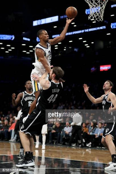 Rodney Hood of the Utah Jazz takes a shot against Tyler Zeller of the Brooklyn Nets in the second quarter during their game at Barclays Center on...