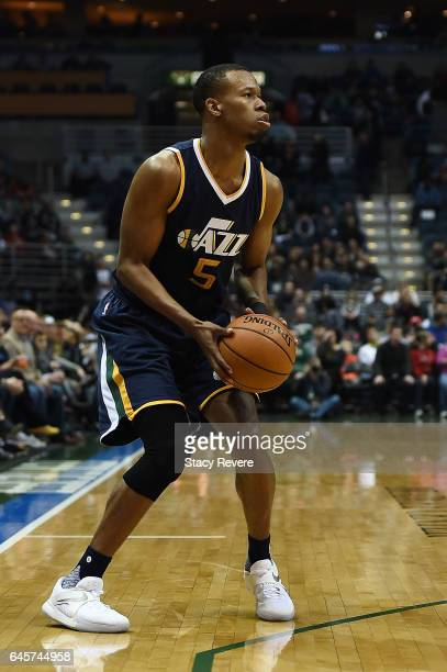 Rodney Hood of the Utah Jazz takes a shot during a game against the Milwaukee Bucks at the BMO Harris Bradley Center on February 24 2017 in Milwaukee...