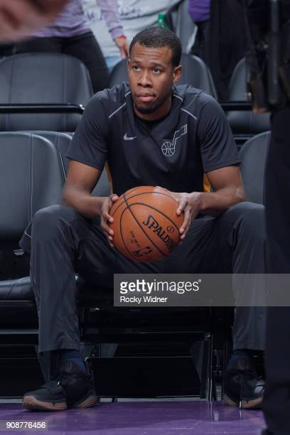 Rodney Hood of the Utah Jazz warms up against the Sacramento Kings on January 17 2018 at Golden 1 Center in Sacramento California NOTE TO USER User...