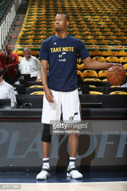 Rodney Hood of the Utah Jazz warms up before the game against the Golden State Warriors during Game Three of the Western Conference Semifinals of the...