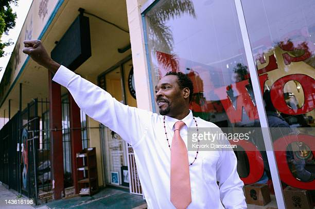 """Rodney King arrives at the EsoWon books store to sign copies of his new book, """"The Riot Within: My Journey From Rebellion to Redemption,"""" on April..."""