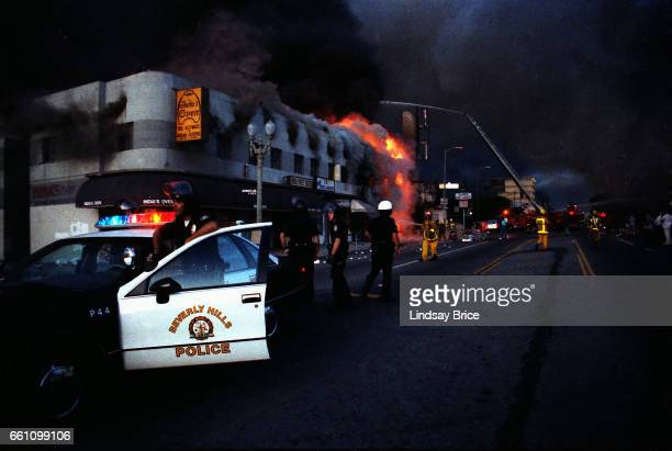 Rodney King Riot. A view of intersection of Pico Boulevard and Hayworth Avenue during the Rodney King Riots showing Beverly Hills Police Department...