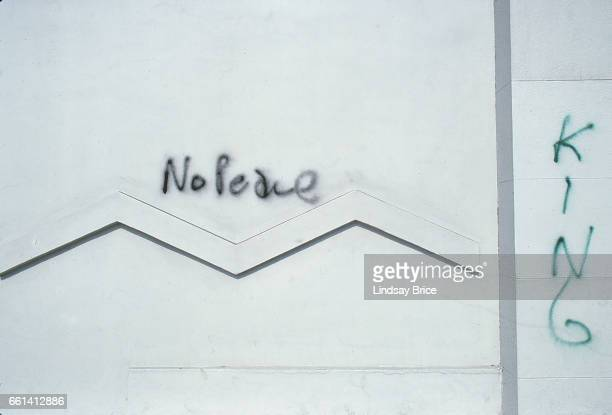 Rodney King Riot A view of rather tasteful graffiti on art gallery's stucco frontage on La Brea Avenue after two nights of fires and looting during...