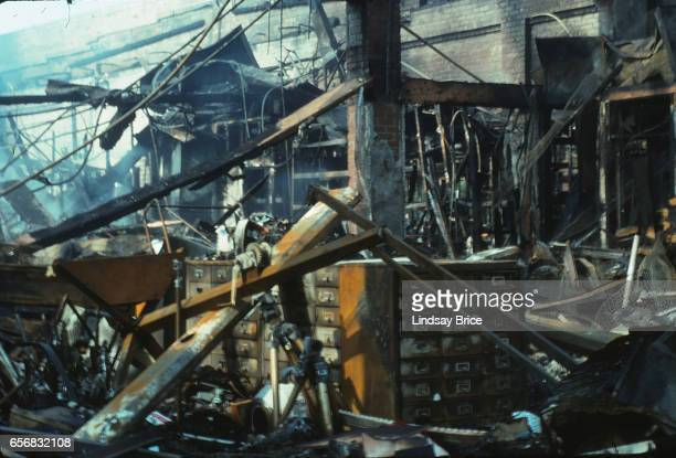 Rodney King Riot. A view of smoldering interior of business Samy's Camera on Beverly Boulevard near La Brea Avenue that was burned during the Rodney...