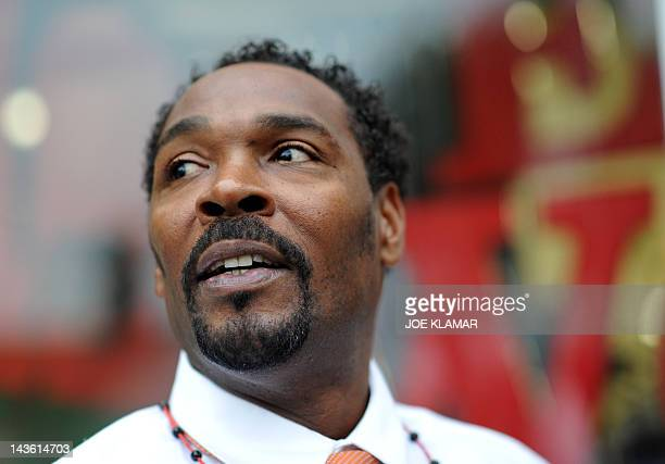 Rodney King speaks with fans before presenting his autobiographical book 'The Riot Within...My Journey from Rebellion to Redemption' at the Eso Won...
