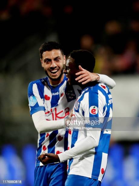 Rodney Kongolo of SC Heerenveen celebrates 1-2 with Hicham Faik of SC Heerenveen during the Dutch Eredivisie match between AZ Alkmaar v SC Heerenveen...